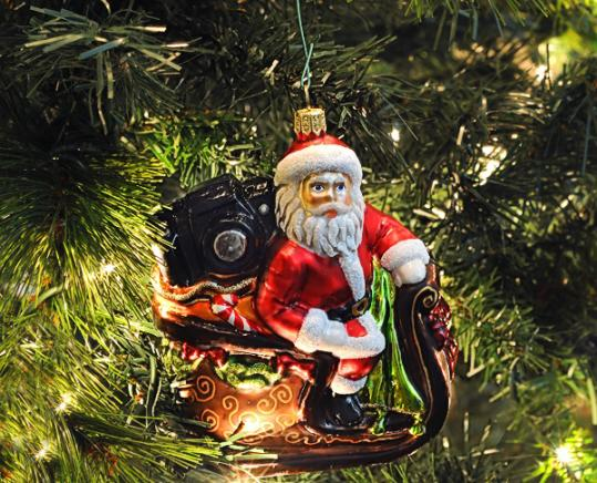 Glass Christmas Ornament - Sleigh and Santa in a T