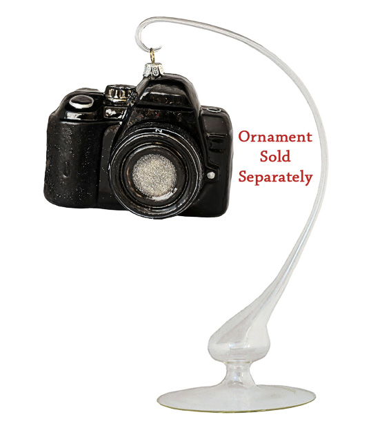 Christmas ornament stand with SLR Camera